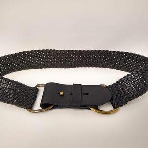 J. Crew 100% Leather Woven Black Belt Ladies Small